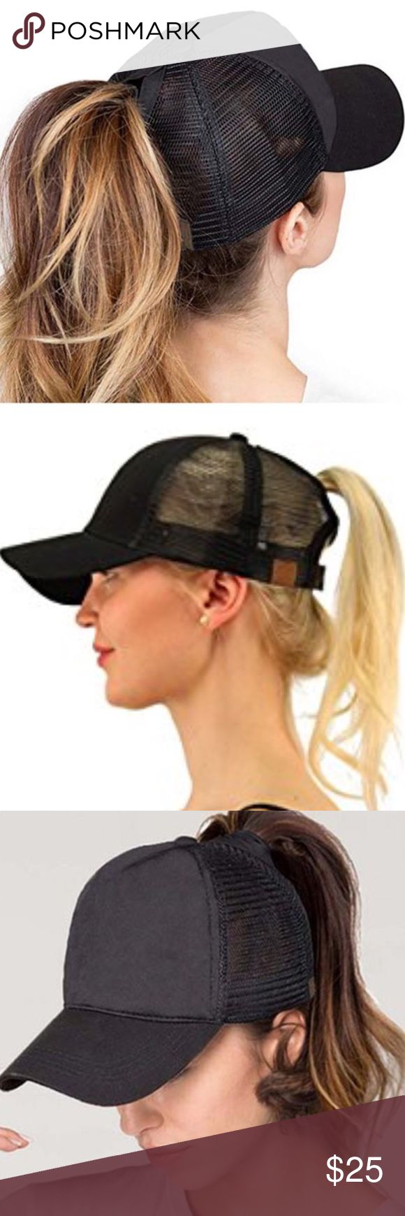 "Ponycap Messy High Bun Ponytail Mesh Cap Hat One size fits most with adjustable hook and loop fastener. Ponytail slot : 3"" by 5"" , perfect for pulling your messy bun or high ponytail through . Simply pull hair through slot and adjust to desired style . Even suitable for man buns ! This listing is for black . Boutique Accessories Hats"