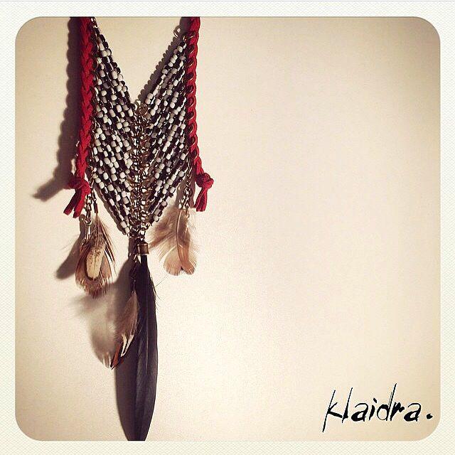 *magic arrow* beaded necklace ➳ #klaidra #fw15 #newdesigns #designers #jewelry #chevron #feathers #handmade #bohemian #ethnic #gypsy #fashion #beaded #necklace #instafashion #bohostyle #women #greekdesigners #klaidrajewelry