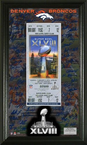 Denver Broncos Super Bowl 48 Signature Ticket. $59.99 Click image to add to cart.