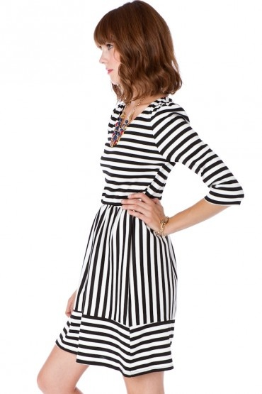 SO CUTE! with a leather jacket and some ballet flats or cute heels! Jordane Striped Dress @ShopSosie