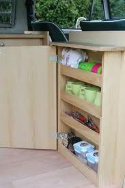Maybe use this storage idea on inside of unit door for easy access to cups/tea etc. the main unit can then store food/tins etc.
