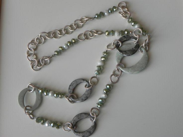 Collane lunghe - Collana silver-green - un prodotto unico di SpinzMade su DaWanda