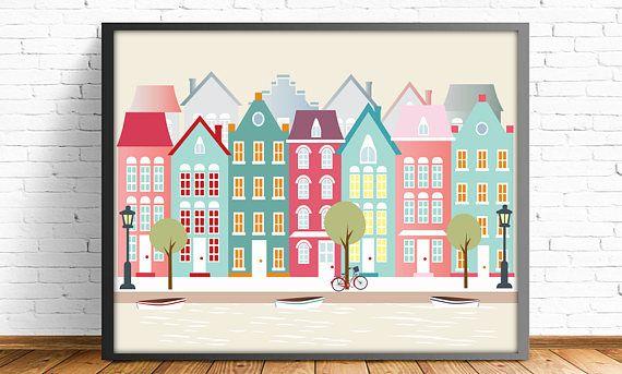 Amsterdam ciudades ilustraciones 4 TAMAÑOS INCLUIDOS