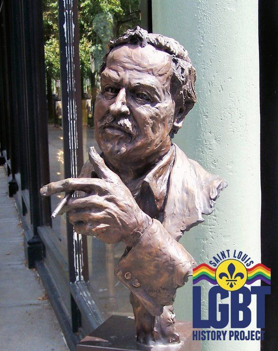 Tennessee Williams' Statue in the Central West End. www.stlouislgbthistory.com