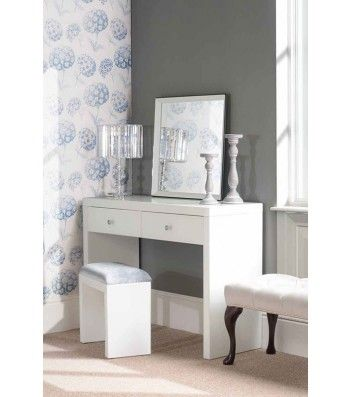Aphrodite White Glass Dressing Table with 2 Legs