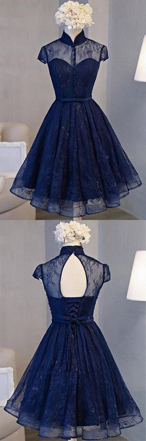 Navy Blue Lace Retro A-Line Stand Collar Short …