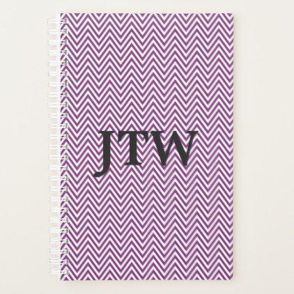 #initial - #Custom Monogram White and Purple Chevron Planner