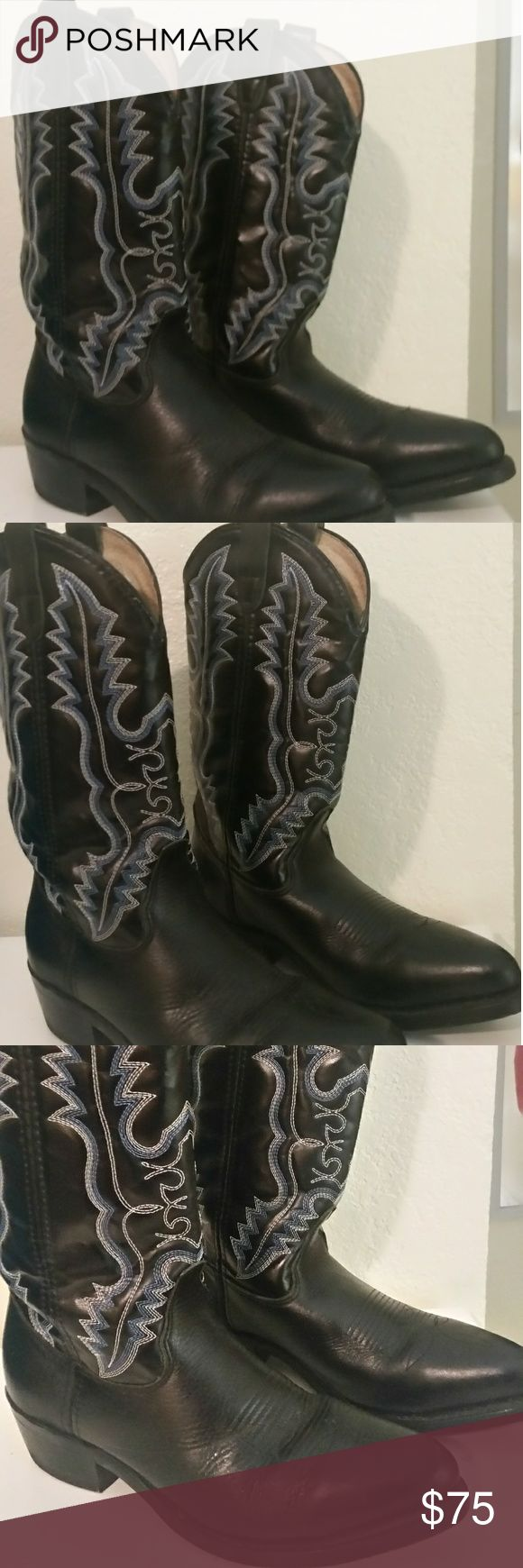 DBL H Cowboy, Riding, Biker Boots Mens 8.5 COWBOY, Rodeo, Biker, Riding, Dance these steel.toed boots would even be a good work boot.These BOOTS were WORN ONCE, are all weather Leather with beautiful hand stitching. Rugged Vibram-like ATZEC SOLES will not disappoitnt you.  They really are virtually new and in Mint.condition,. They don't fit me. So,They need a good home!! Good luck bidding questions will get a prompt reply.. Double Shoes Cowboy & Western Boots