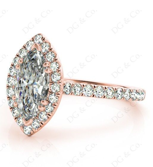 Marquise Cut Halo Diamond Engagement Ring with Claw Set Centre Stone - Build Your Engagement Ring