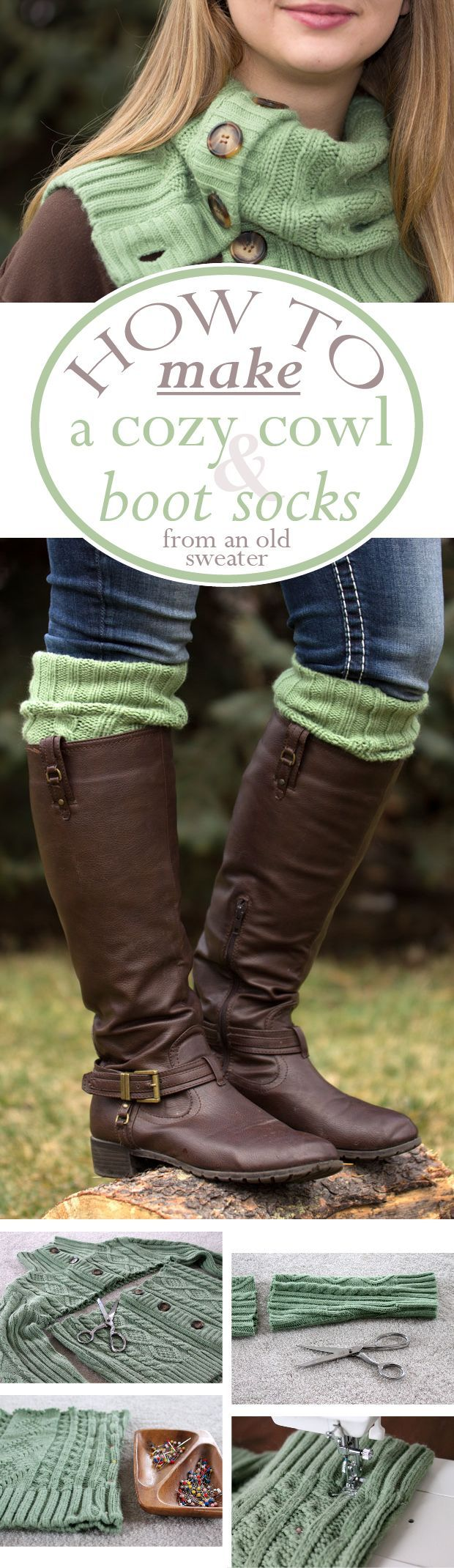 Button down sweaters become cozy cowls and boot socks. Nice pairing for One Heart Dayton gifting.