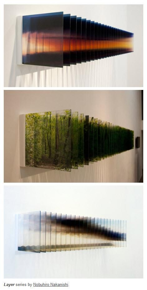 Nobuhiro Nakanishi, Layer series - He photographs a scene or object repeatedly over time, then laser prints each shot and mounts them onto acrylic. Change is captured in each frame http://www.nomart.co.jp/nakanishi/information.html