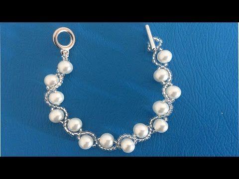 Como hacer pulseras. Pulsera con perlas. Como hacer pulseras con chaquira y perlas - YouTube