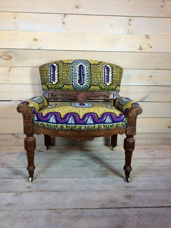 Low Vintage Chair Upholstered in African Fabric