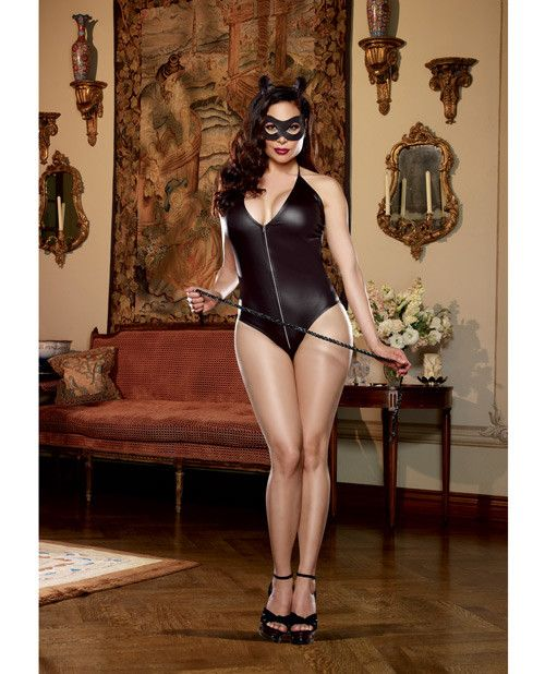 Queen Size 4 pc Halter Romper w/Zip Front & Attached Tail, Cat Ears Headband, Mask & Whip