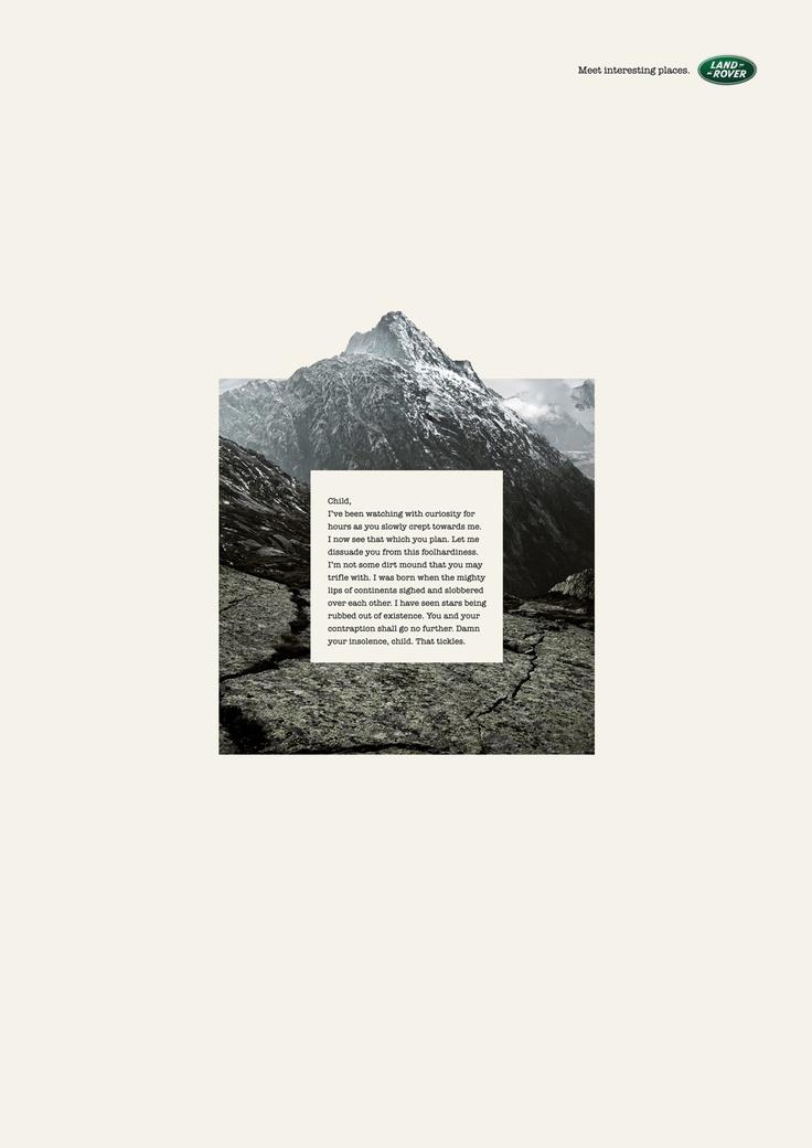 Award: GRAND CRISTAL / Campaign: Monologue: Mountain / Advertiser: Landrover / Agency: Young & Rubicam Dubai, UAE