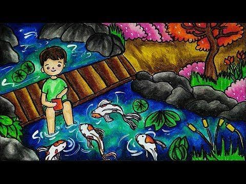 Cara Menggambar Dan Mewarnai Tema Pemandangan Kolam Ikan Koi