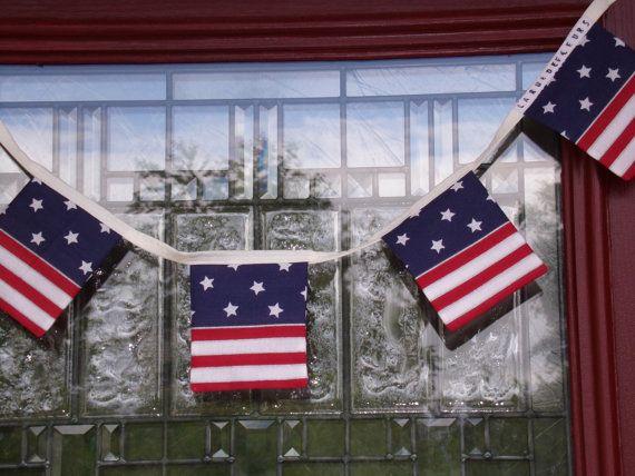 American Flag Banner Patriotic Flag Banner by laruedefleurs, $15.00