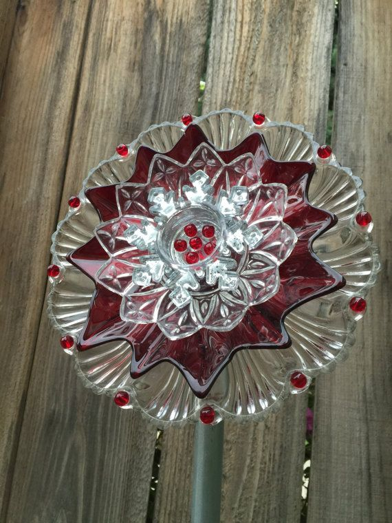 Christmas Plate Flower Garden Decor Poinsettia By FancysGarden
