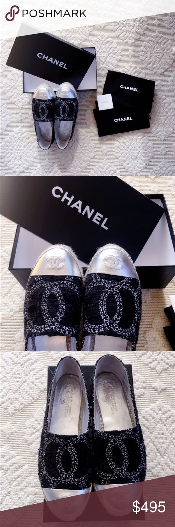 💯 Authentic Chanel Tweed / Silver Espadrilles Moving Sale! 💯 Authentic Chanel Signature Tweed / Silver Captoe with Logo Espadrilles! pretty much in pristine condition. Please see last photo for imperfection, there is minor scratch on the captoe, and a tiny rip inside the shoe ( can be easily fixed at Chanel or any shoe store) . Size 37 . Sold out in stores. Item selling on eBay for $799 plus 25 dollars shipping. Please don't send me low ball offers. Thank you :) CHANEL Shoes Espadrilles