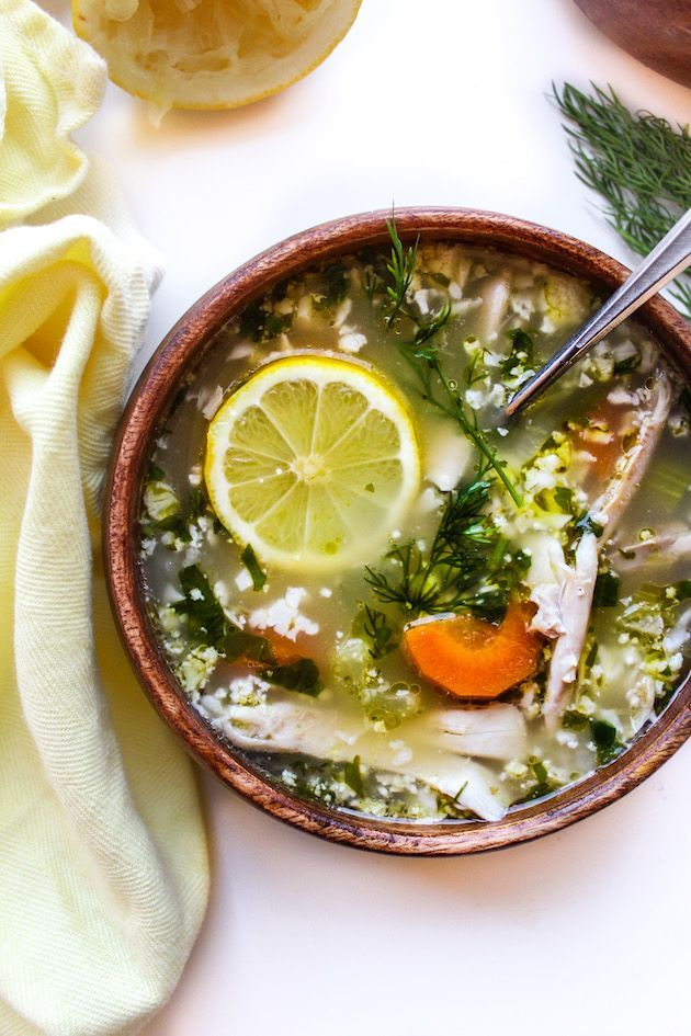Lemon Chicken Soup with Cauliflower Rice| A hearty soup with a whole lot of zip. Whole 30   Gluten Free   One Pot
