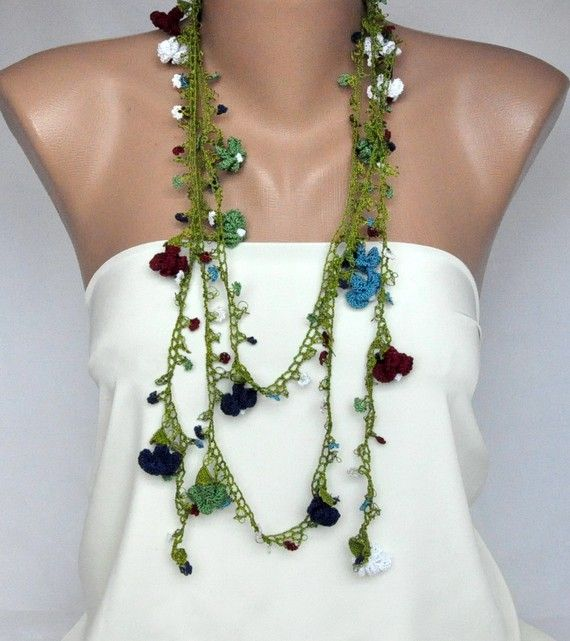 Hand Crocheted Colorful Hyacinths Scarf Necklace