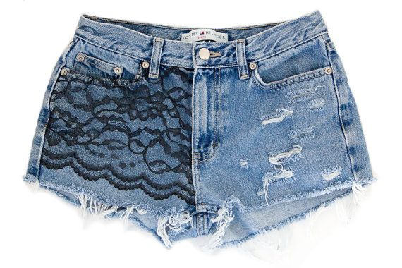 Black Lace Shorts, Handmade, Vintage Distressed High Waisted Denim, Upcycled W