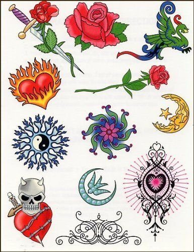 """Skull Flaming Heart Flower Sheet Temporaray Tattoo by Tattoo Fun. $4.95. This 4 1/2"""" X 6"""" sheet of temporary tattoos gives a good variety in tough temporary tattoos and the girly tattoos. The amount of detail In every design is just amazing."""