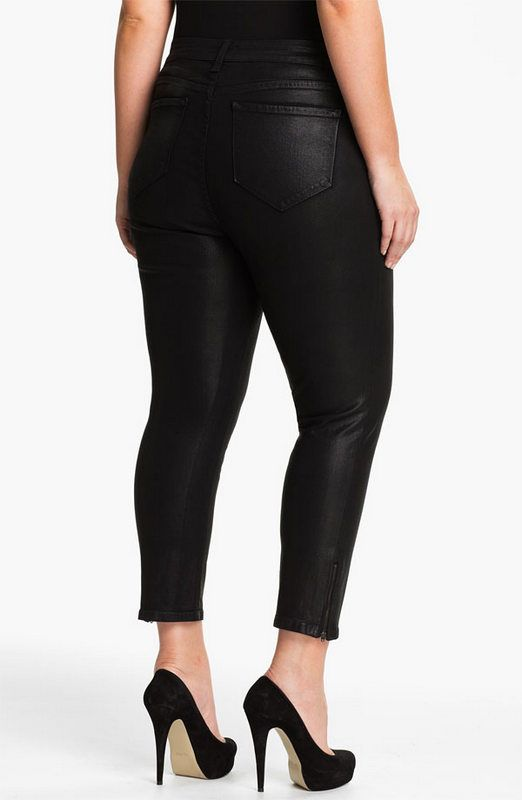 NYDJ Plus Size Coated Ankle Zip Pants
