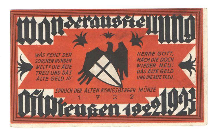 """Königsberg Pr. Notgeld - Serienschein  """"Wanderausstellung Ostpreußen 1922  1923"""""""