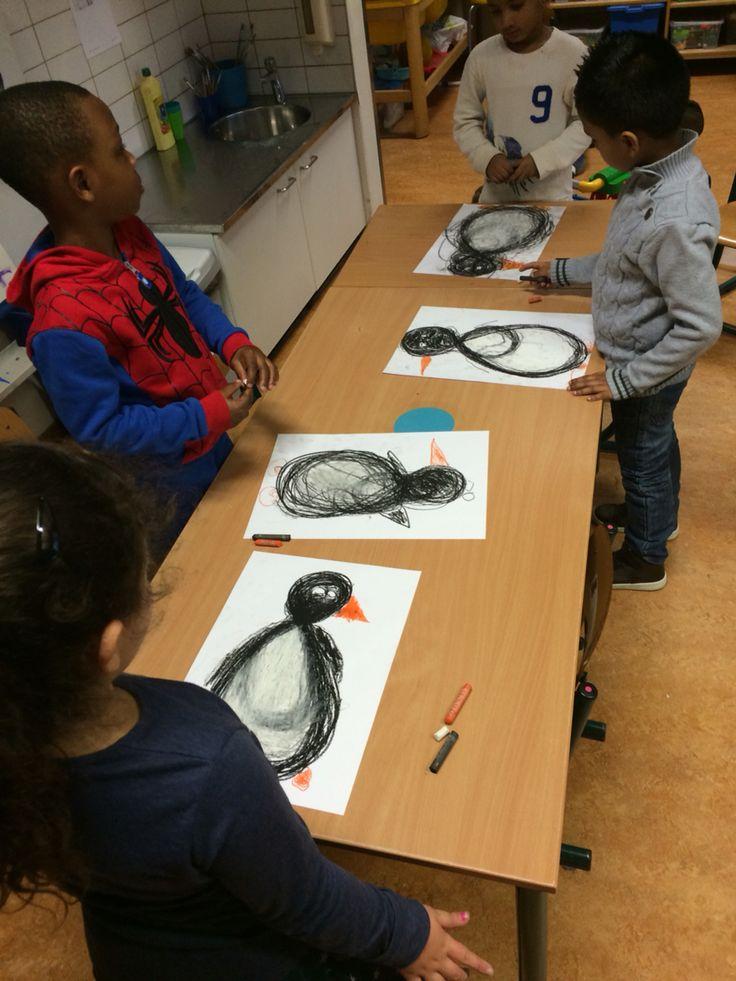 Thema winter: schrijfdans pinguïn