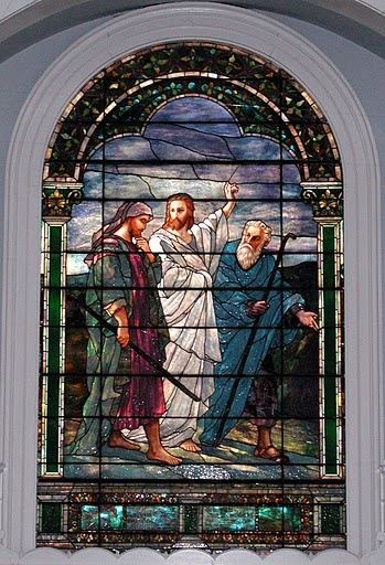 Walk to Emmaus... stained glass in the sanctuary of the First Presbyterian Church, Boonton, NJ; the church I grew up in.