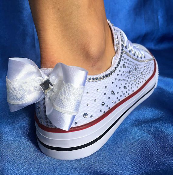 Wedding trainers, Wedding sneakers for bride shoes, Bedazzled sneakers, Budget bride shoes, Custom bride sneakers, Custom wedding sneakers Sweet and romantic with these sneakers you will spend your special day in comfort while being glamorous and unique. They are dressed in gentle