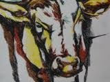 Stier - Krijt op papier