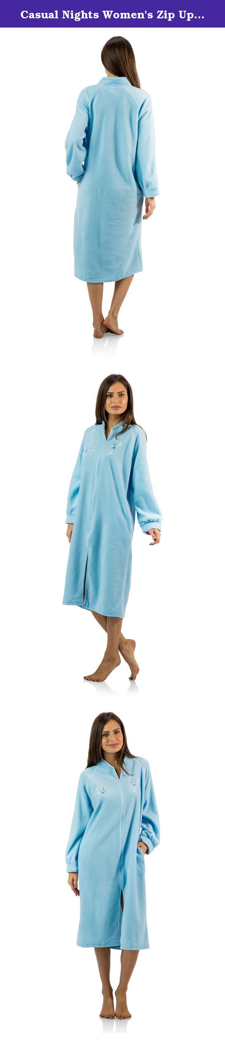 "Casual Nights Women's Zip Up Front Long Fleece Robe House Dress - Blue - Large. This cozy warm Zipper Front Fleece Robe from Casual Nights, Exceptionally lightweight bathrobe made from poly fleece smooth to the touch fabric. Housecoat features; Raglan style long sleeves, piping trim, flower embroidery appliques, front zip closure measures 28.5"" inches makes the shower robe easy to wear. Measures approx. 44"" from shoulder to hem. Perfect for spas, shower houses, dorms, pools, gyms…"