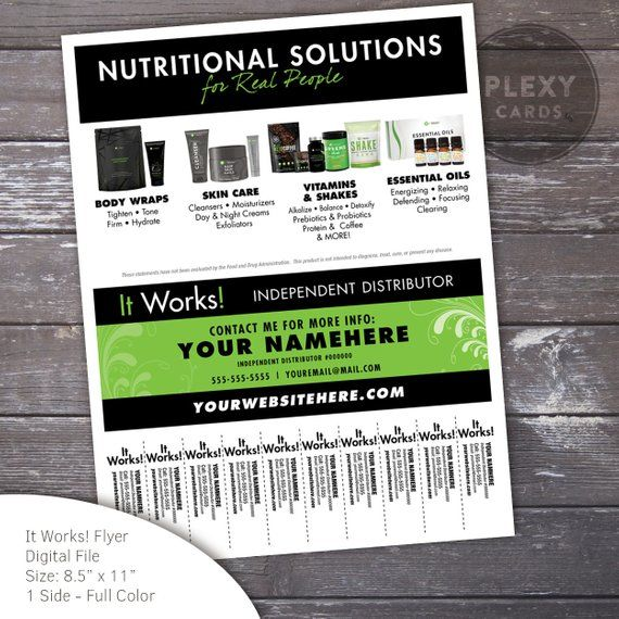 It Works Independent Distributor Flyer With Tear Off Tabs At The