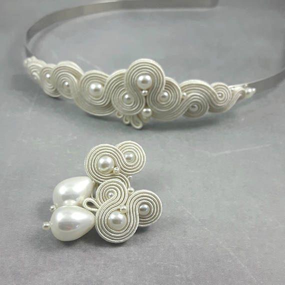 Pearl Soutache earrings headband wedding jewelry set. Pearl