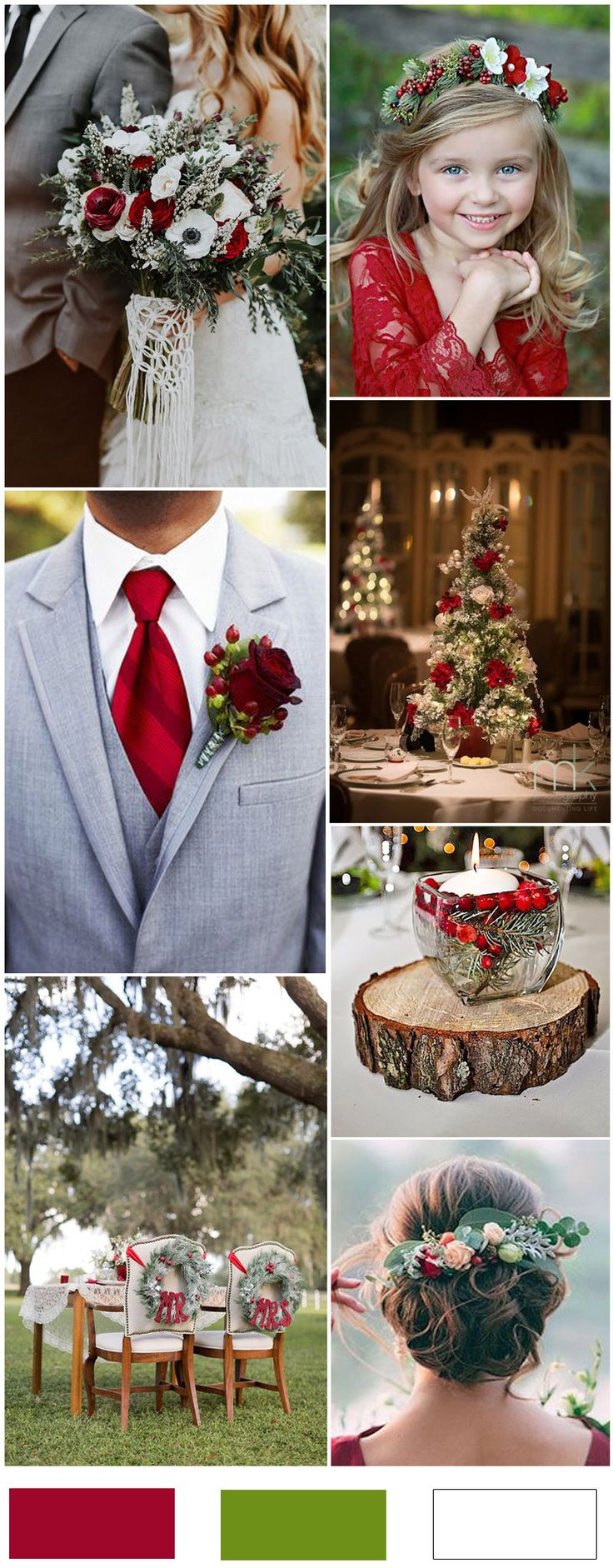 Christmas Red and Green and White Wedding Color Ideas