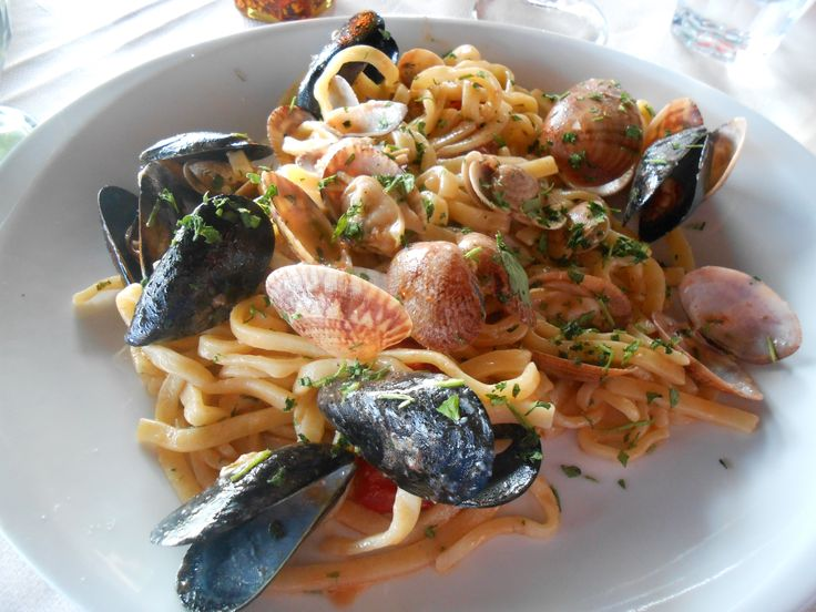 Tagliatelle with Seafood in Naples Italy
