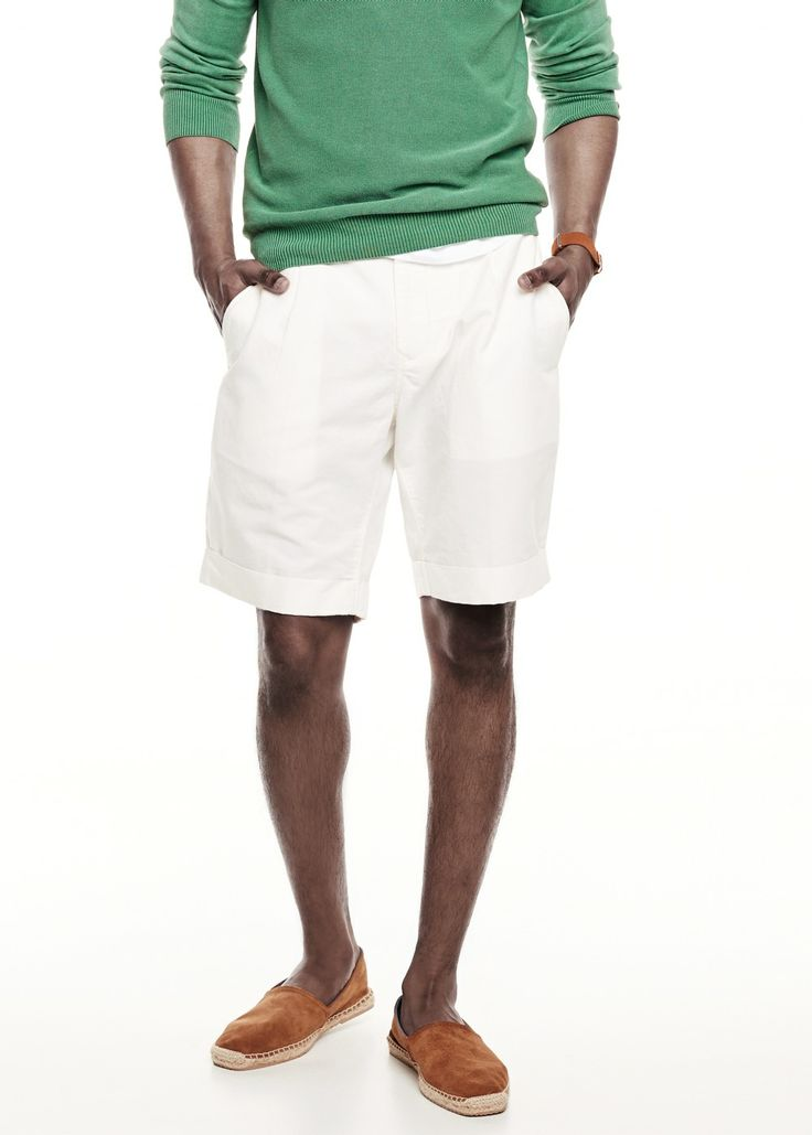 Rolled-up hem cotton linen-blend bermuda shorts