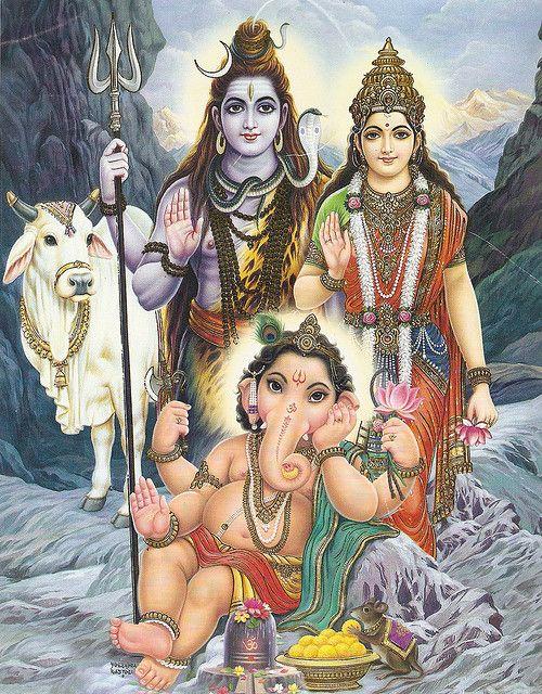 Shiva, Parvati and Ganesh by simon_ram, via Flickr