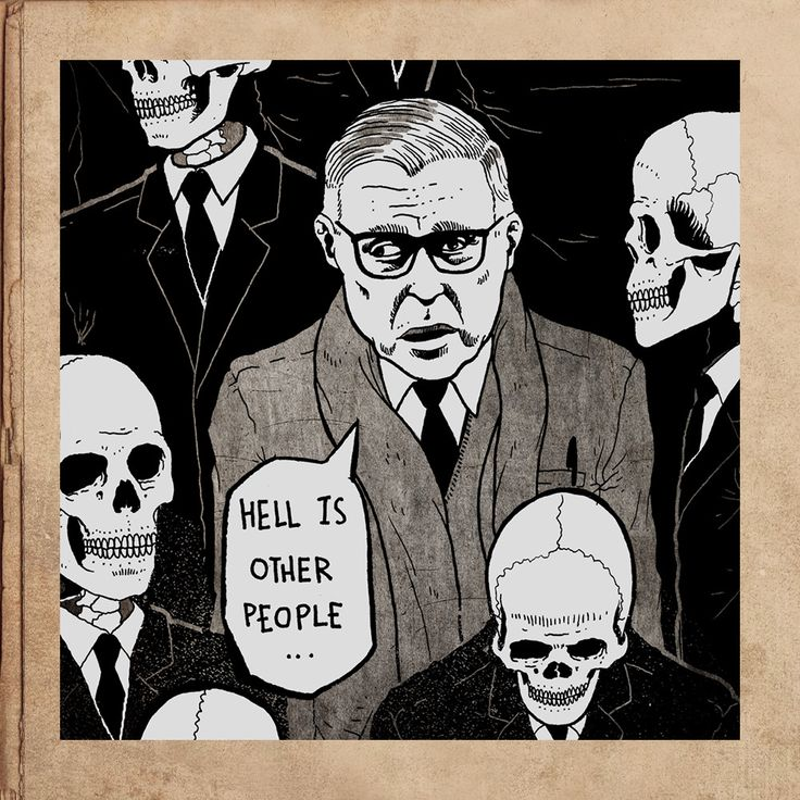"""Sartre Hell is Other People No Exit Magnet 3.5"""""""