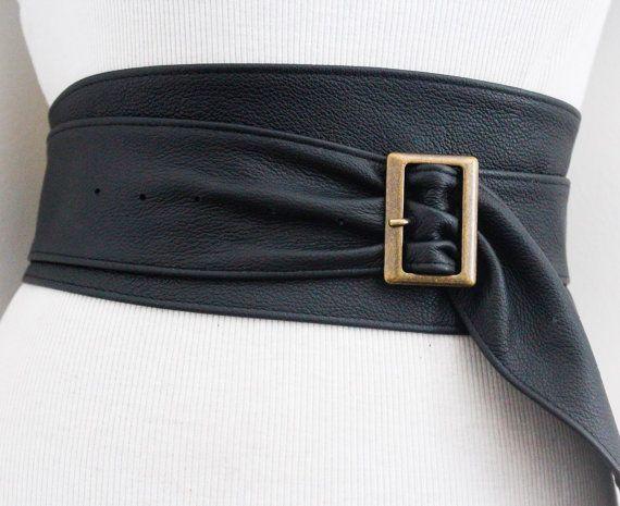 Noir en cuir boucle ceinture Ceinture noire Corset par LoveYaaYaa