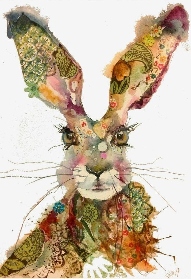 Funky bunny, Easter watercolour illustration art to cheer up Mad March, hare or rabbit print for mother's day or Easter followers