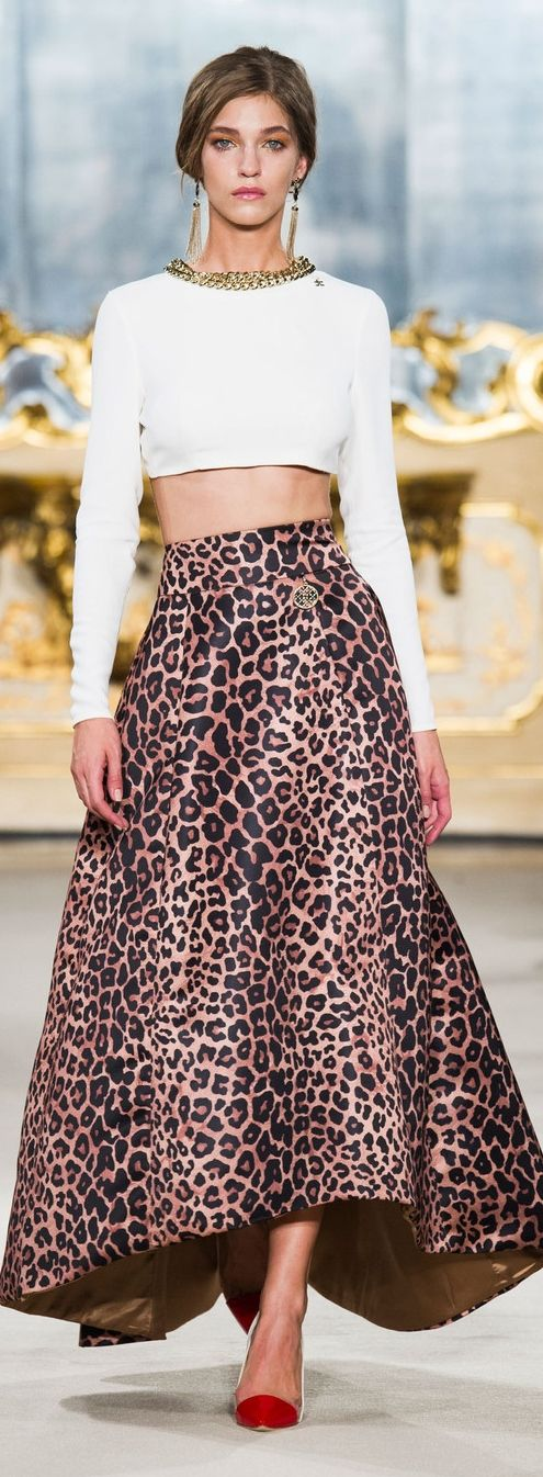 "Elisabetta Franchi Spring 2015 (I only add this because I can't believe that ""animal Print"" still ""ROARS""!  and I hear myself whisper ""yeah!"""