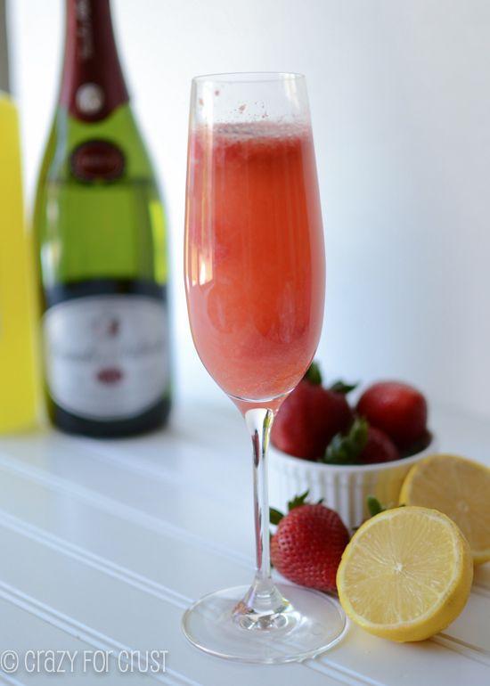 Strawberry-Lemon Bellini:  alcoholic and non-alcoholic recipes