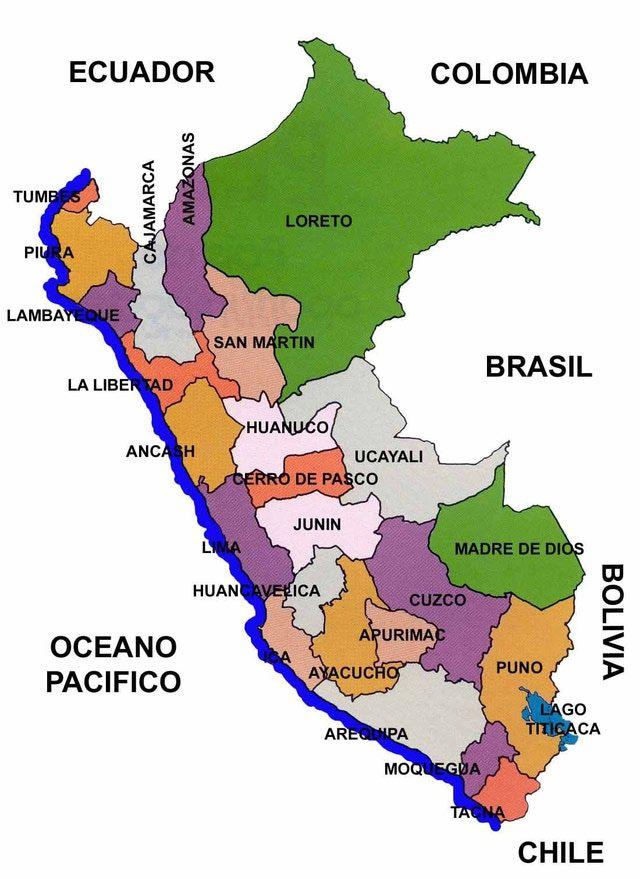 Mapas del Perú: turismo: Mapa político del Perú