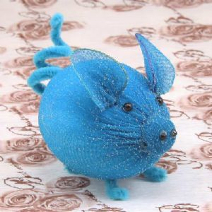 Handmade nylon product, wires and Nylon, blue, Pig, 1 Animal, 9cm x 6cm x 6cm, [SW074]