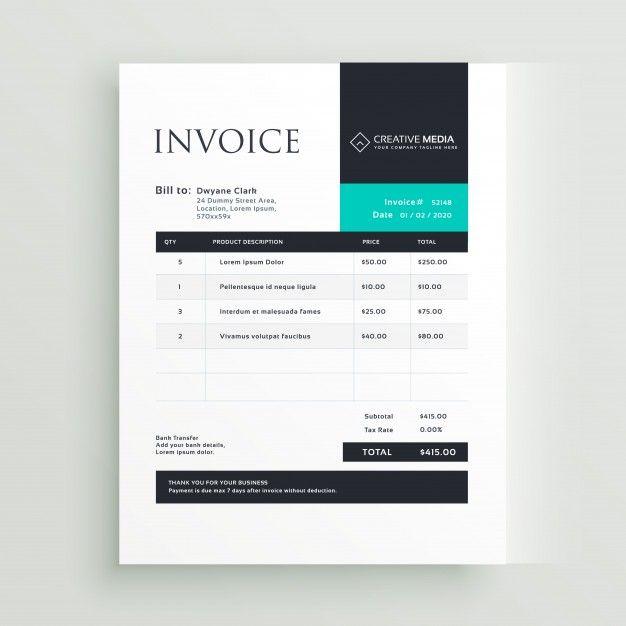 Creative Modern Invoice Template Invoice Template Invoice Design Template Vector Design