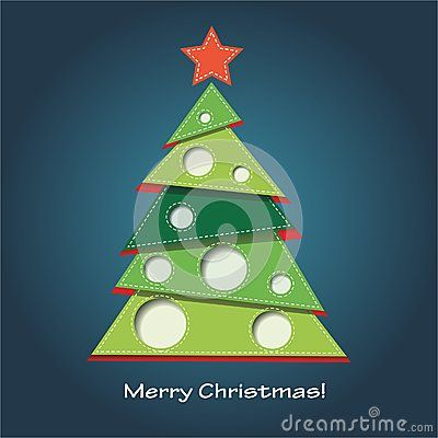 Vector image of christmas card with a blue background with a christmas tree and merry christmas text