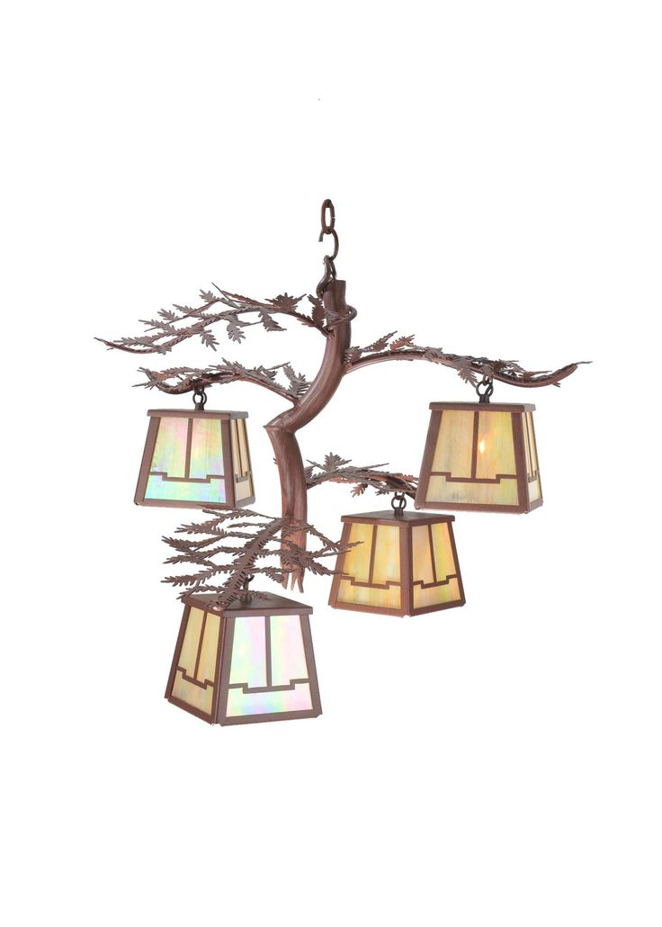 """25 Inch W Pine Branch Valley View 4 Lt Chandelier. 25 Inch W Pine Branch Valley View 4 Lt Chandelier Theme:  RUSTIC LODGE ART GLASS Product Family:  Pine Branch Valley View Product Type:  CEILING FIXTURE Product Application:  CHANDELIER -- CEILING FIXTURES Color:  RUST/BAI Bulb Type: HALOGEN Bulb Quantity:  4 Bulb Wattage:  60 Product Dimensions:  26.5""""-56.5""""H x 25.5W x 28DPackage Dimensions:  NABoxed Weight:  16 lbsDim Weight:  154 lbsOversized Shipping Reference:  OS3IMPORTANT NOTE…"""
